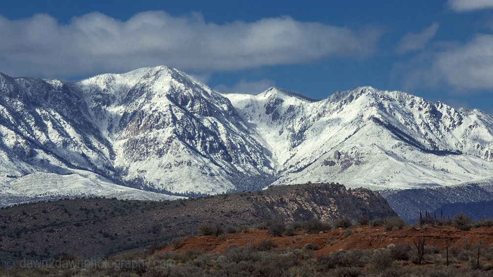 Fresh snow has fallen on the Pine Valley Mountains, north of St. George, Utah