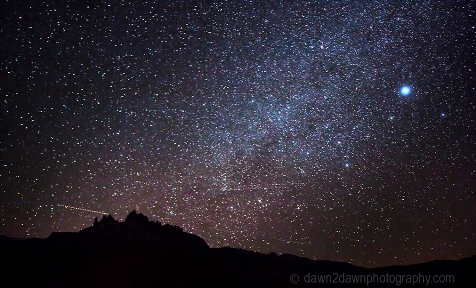 The Milky Way appears in the night sky in Southern Utah near Zion National Park