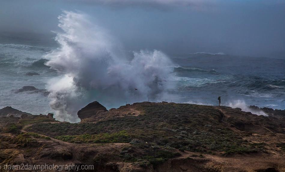 High surf produces big waves crashing upon the shoreline at Point Lobos State Natural Reserve at Carmel, California