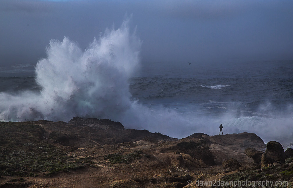 High surf produces big waves crashing upon the shoreline at Point Lobos State Natural Reserve at Carmel, California