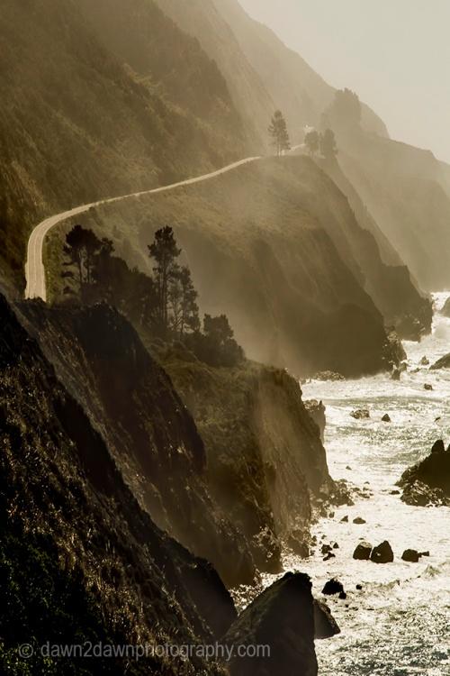 Fog rolls into the California Coast near Big Sur.