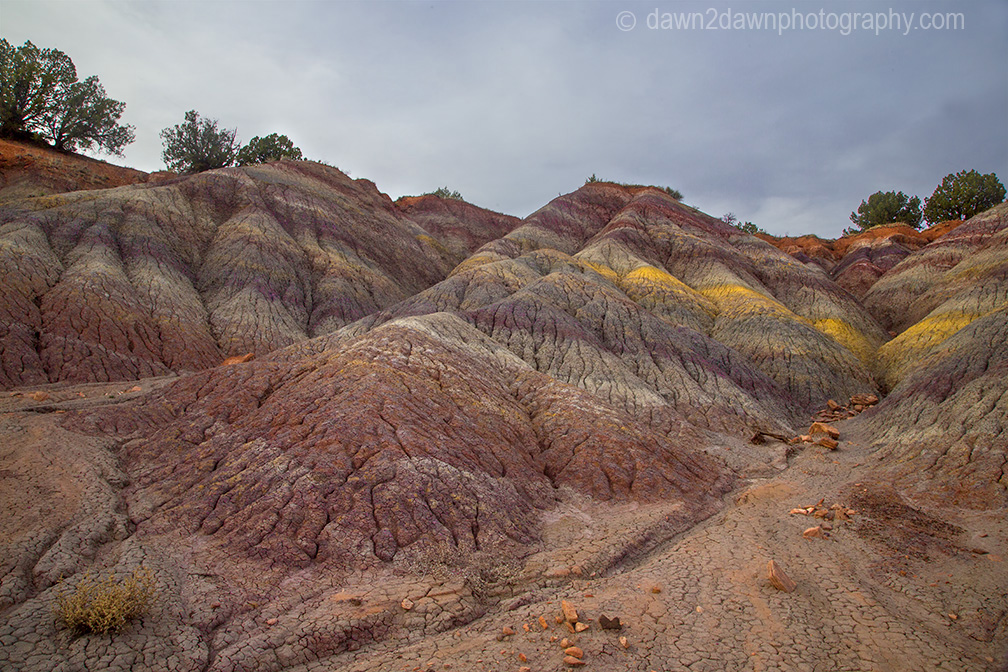 The colorful sedimentary layer of clay is uncovered at Vermillion Cliffs National Monument, Arizona
