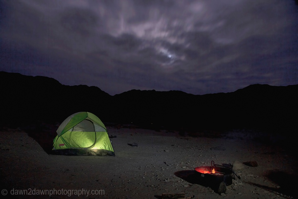 Campground site in a remote area of Death Valley National Park, California
