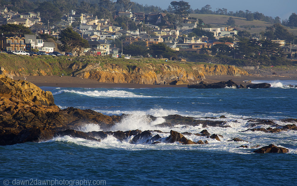 Waves pound upon the shoreline along California's Pacific Ocean Coastline at Cambria