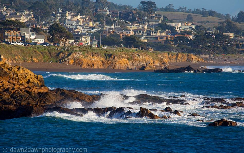 Waves pound upon the shoreline along California's Pacific Ocean Coastline at Cambria