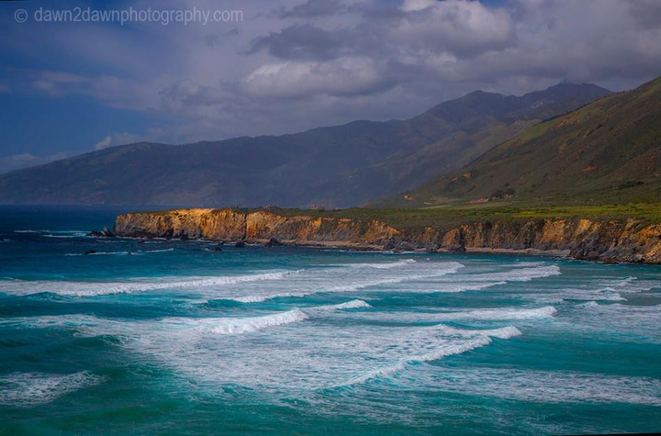 Waves pound upon the shoreline along California's Pacific Ocean Coastline at Sand Dollar Beach near Big Sur.