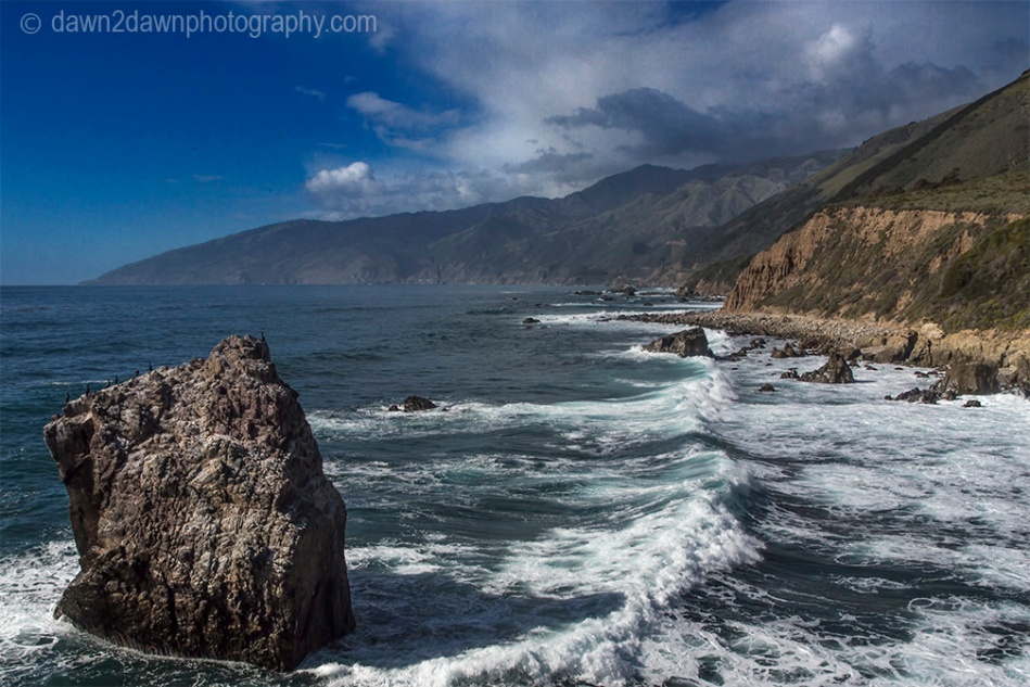 Waves pound upon the shoreline along California's Pacific Ocean Coastline near Big Sur.