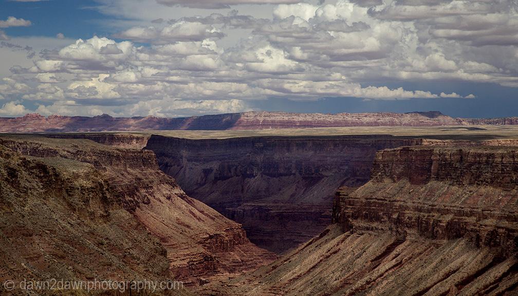 A thunderstorm passes along Marble Canyon at Grand Canyon National Park, Arizona.