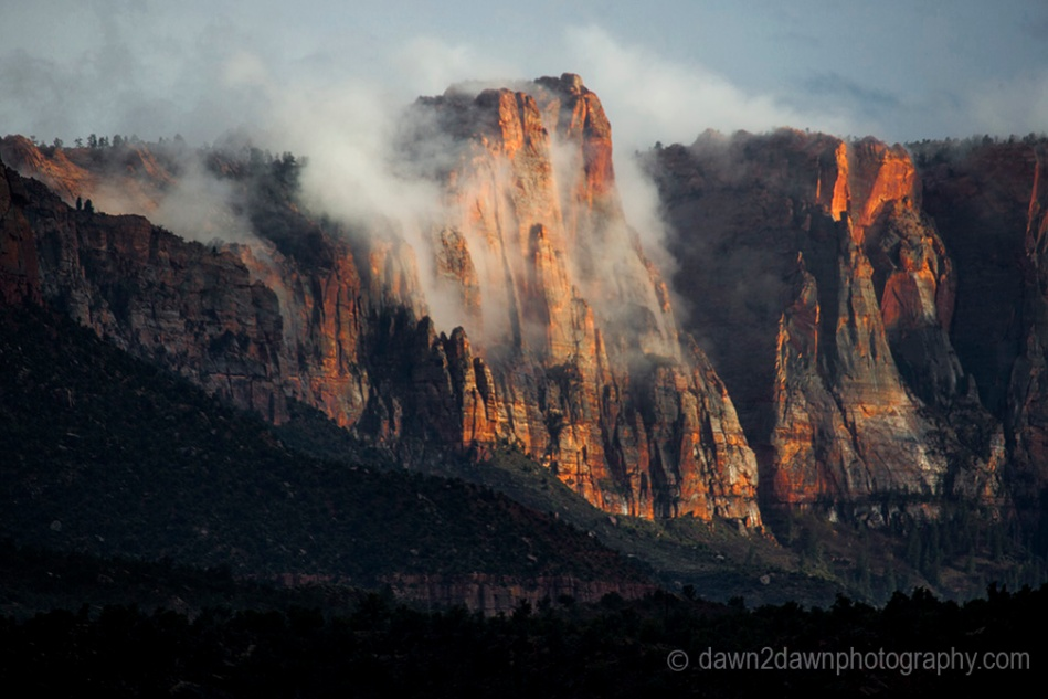 The sun sets on the landscape in and around Zion National Park, Utah.