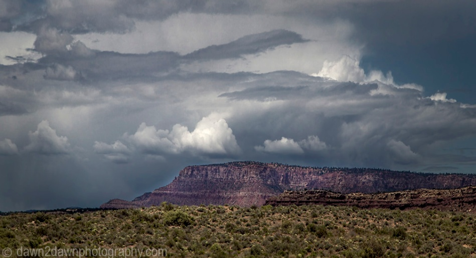 A storm appears on the road to Arizona's Grand Canyon at Toroweap at Grand Canyon National Park