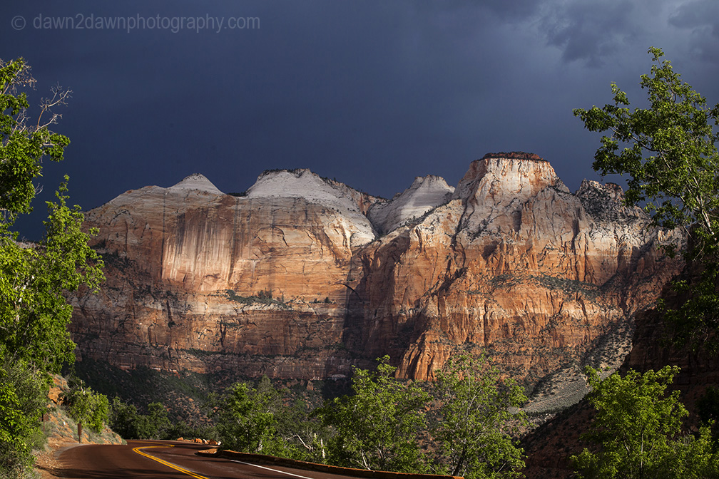 The sun rises in Zion Canyon at Zion National Park, Utah
