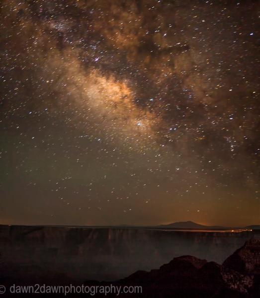 The Milky Way comes alive over the North Rim of The Grand Canyon at Grand Canyon National Park, Arizona