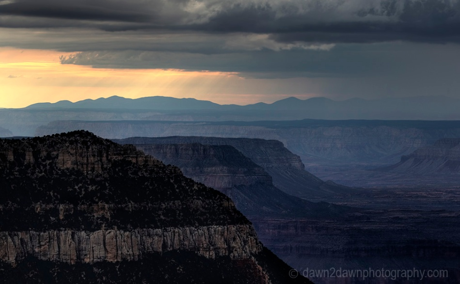 Storm clouds pass over the Grand Canyon near Timp Point, Kaibab National Forest, Arizona