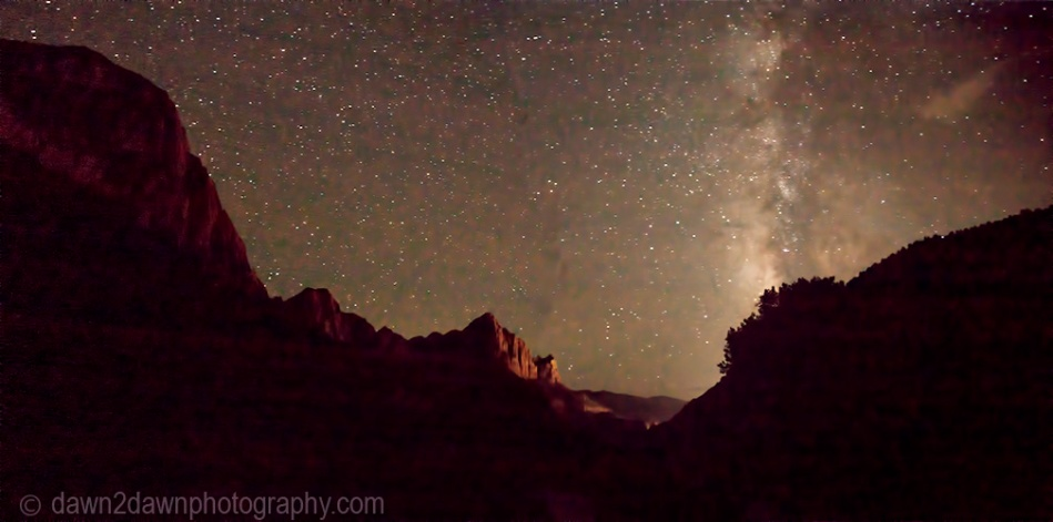 The Milky Way appears over Zion National Park on a moonless night.