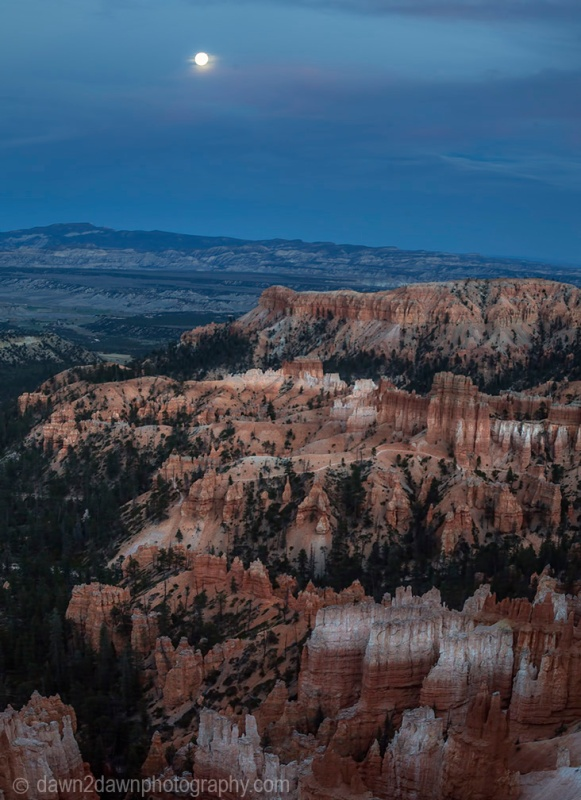 The nearly full moon rises above Bryce Canyon National Park, Utah