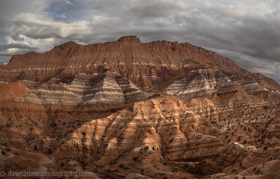 Colorful clay beds of the Chinle Formation are revealed due to erosion at the The Grand Staircase Escalante National Monument, Utah