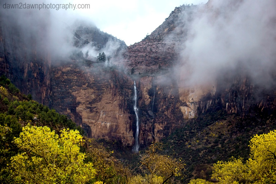 Fall colors and an ephemeral waterfall have arrived at Zion Canyon at Zion National Park, Utah