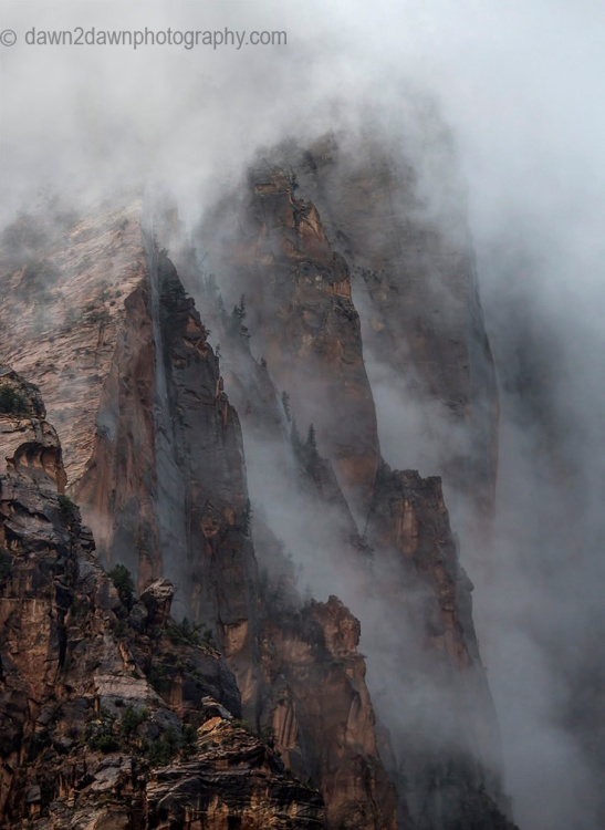 A passing rain storm produces thick clouds and fog at Zion National Park, Utah