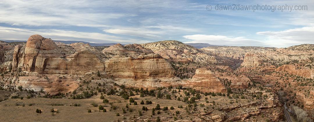 Unusual sandstone rock formations are seen along Utah's rural Highway 12.