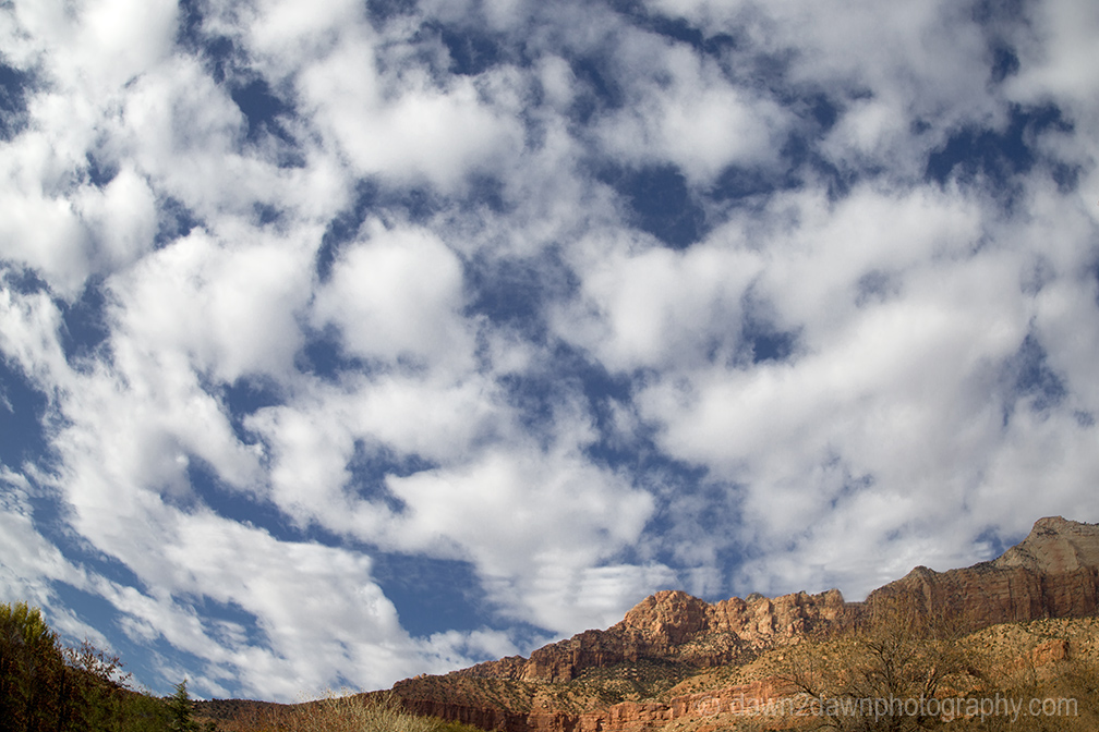 Clouds form a pattern above Zion National Park, Utah