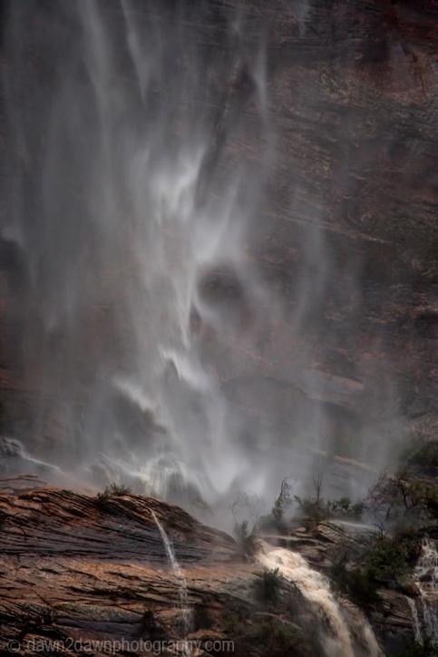 Heavy rains have produced ephemeral waterfalls at Zion National Park, Utah