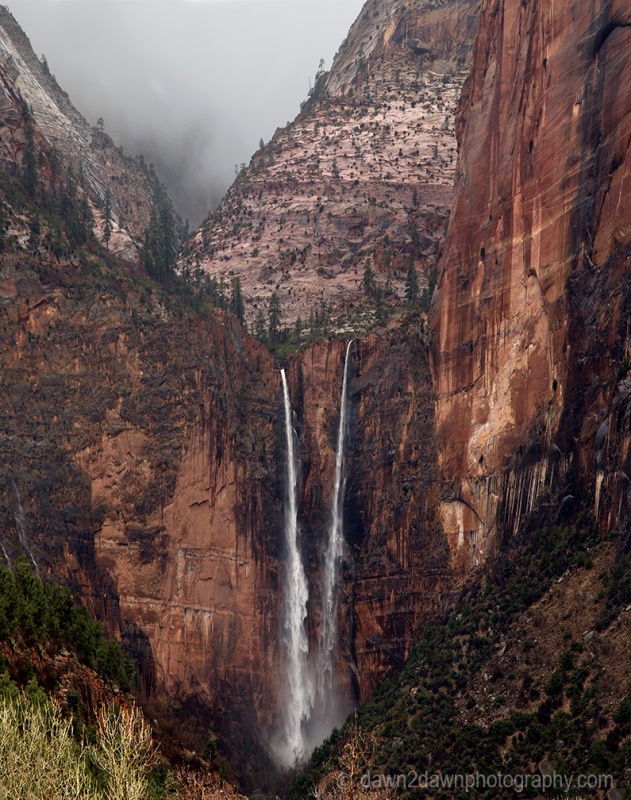 Heavy rains have produced ephemeral waterfalls at Zion National Park, Utah