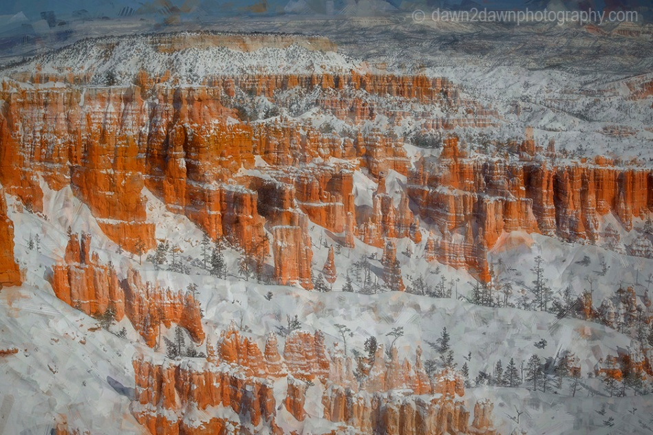 Fresh snow blankets Bryce Canyon National Park, Utah