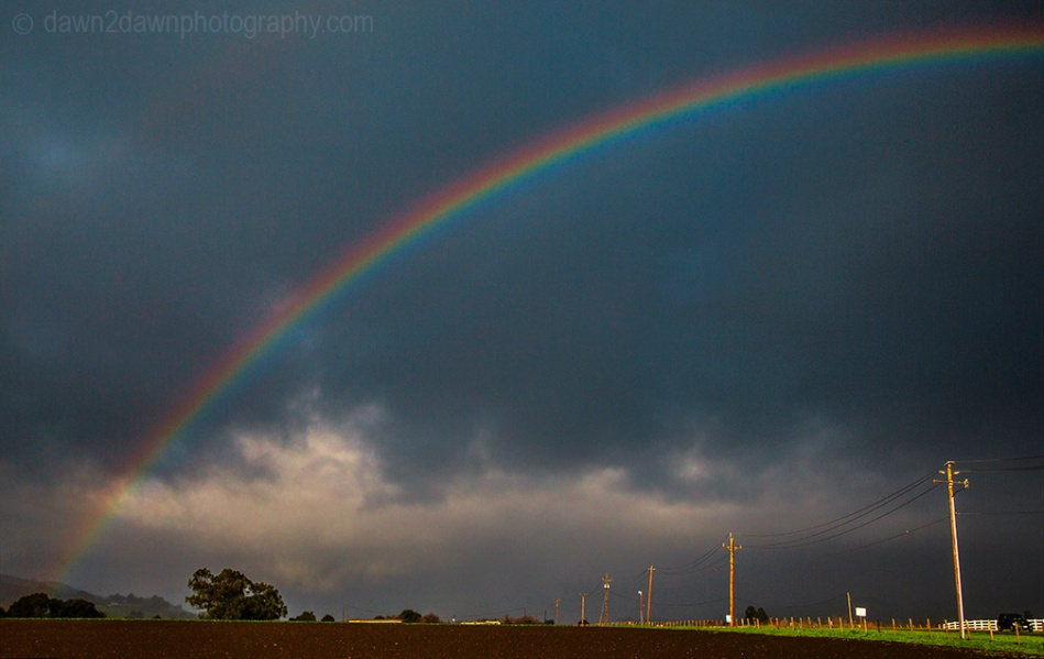 A rainbow appears just after a rainstorm in rural California
