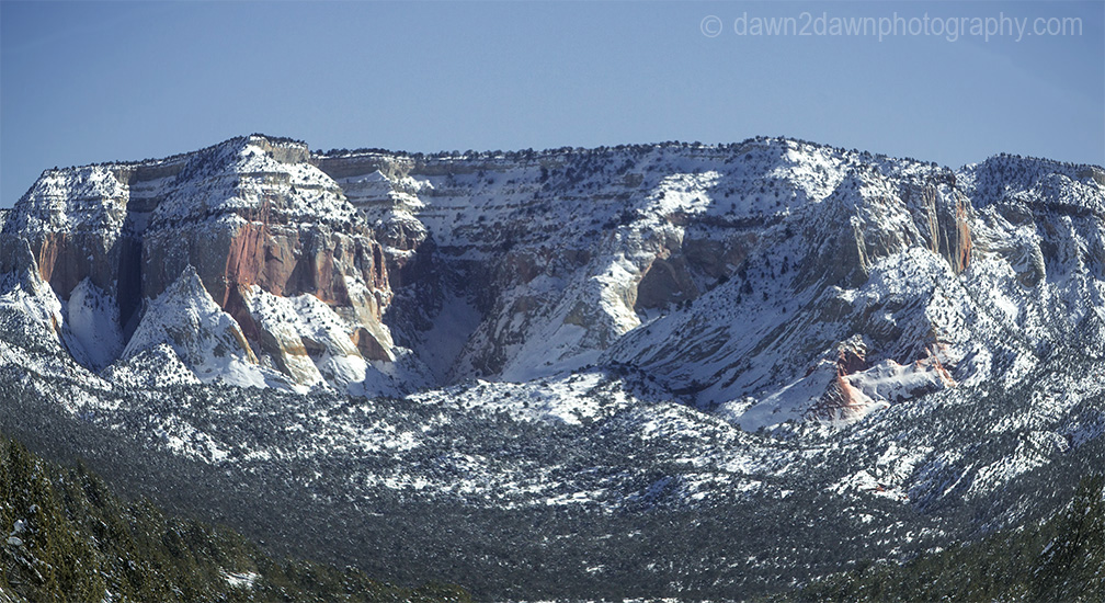 Fresh snow blankets the Southern Utah landscape