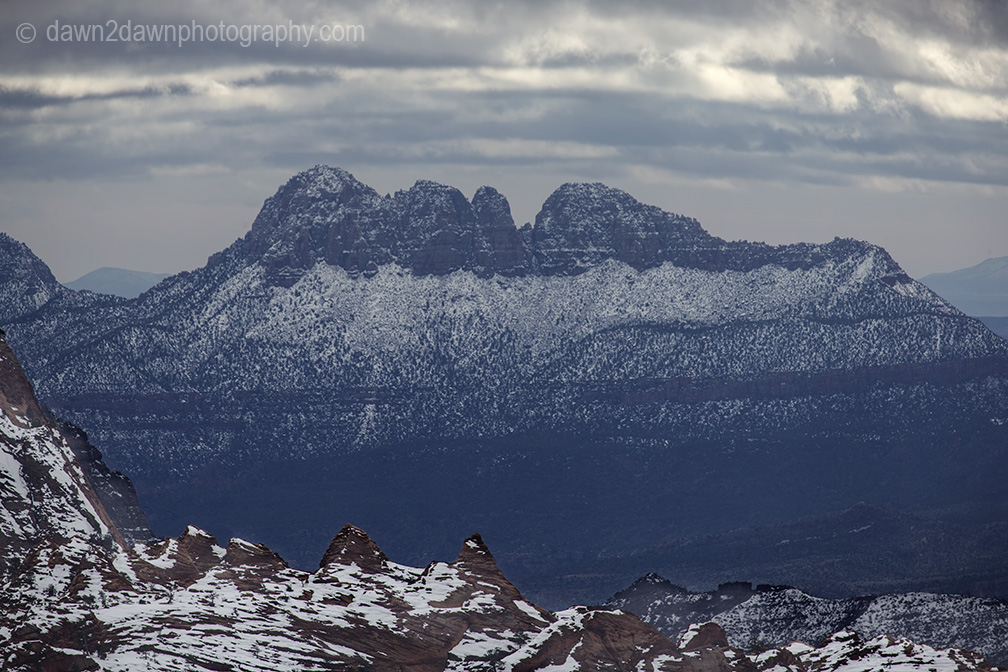 Fresh snow blankets Zion National Park as seen fron Kolob Terrace