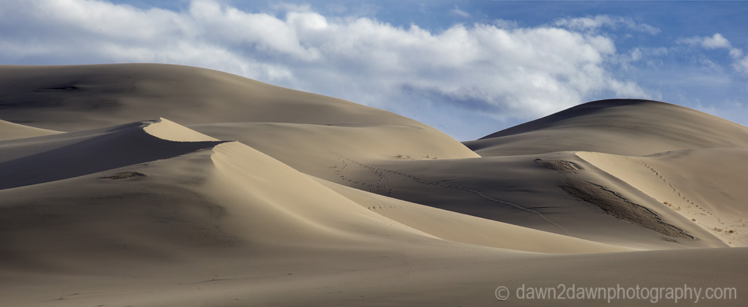 The shapes and lines at Eureka Dunes at Death Valley National Park, California