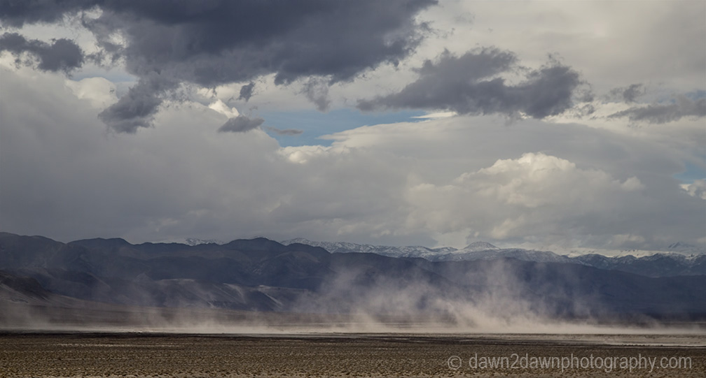 High winds kick up dust at Eureka Valley at Death Valley National Park, California