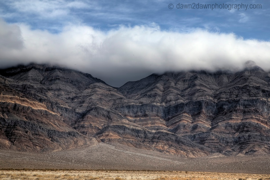 Fog envelops the Last Chance Mountains at Death Valley National Park, California