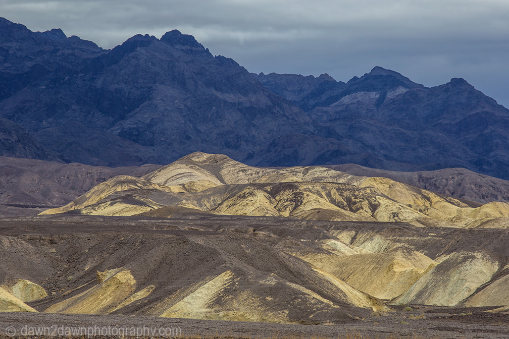 The bright colors of Mustard Hills at death Valley National Park, California