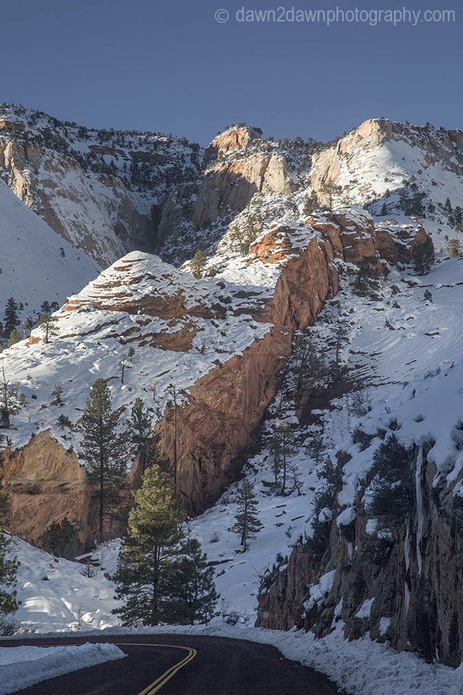 Fresh snow blankets Zion National Park in Southern Utah.