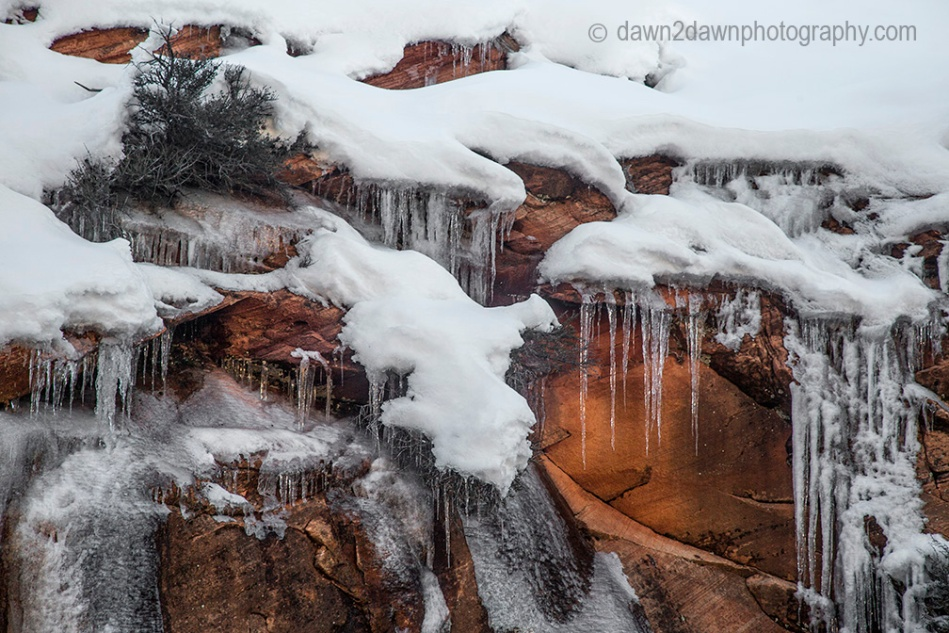 Fresh snow and ice blanket Zion National Park in Southern Utah.