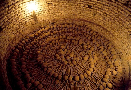 THE CATACOMBS UNDERNEATH THE MONASTERIO DE FSAN FRANCISCO IN LIMA, PERU, REVEALS SKULLS AND BONES OF THE BURIED.