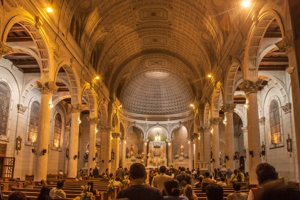 Inside a cathedral where a wedding was happening.