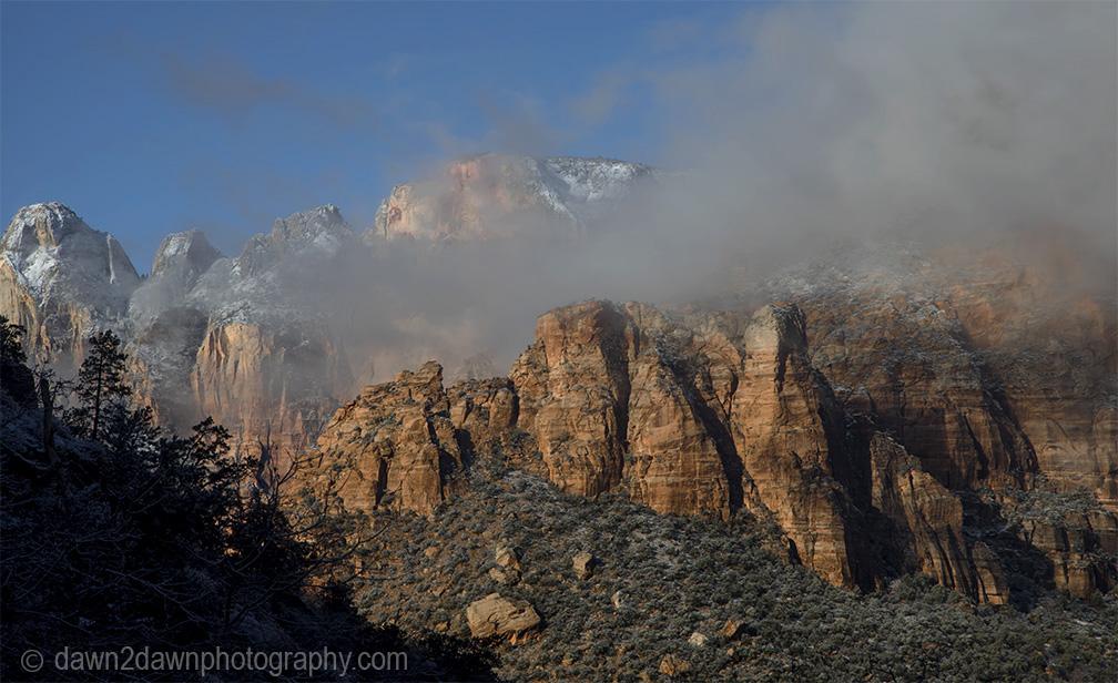Snowy Foggy Zion